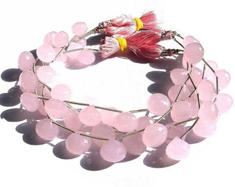 8 inches- Finest Quality AAA Pink Chalcedony Micro Faceted Onion Briolettes Size 10 - 11mm Approx