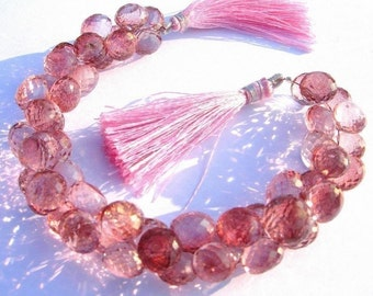 Full 7.5 Inches - Pink Mystic Quartz Micro Faceted Onion Briolettes Size 7mm approx