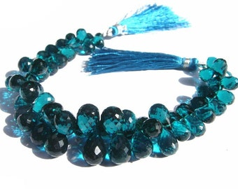 1/2 Strand Extremely Beautiful AAA Teal Blue Quartz Faceted Tear Drop Briolettes Size 8x6 - 11x8mm approx