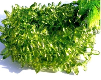 1/2 Strand - Genuine Peridot Faceted Marquise Shaped Briolettes Size - 9x5 - 10x5mm approx