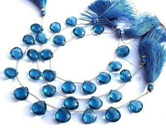 10 Pcs as 5 Matched Pairs AAA London Blue Quartz Faceted Heart Briolettes Size 12x12mm approx