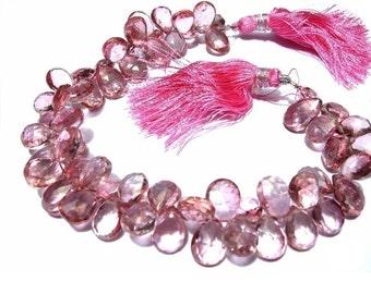 30% Sale 1/2 Strand Pink Mystic Quartz Faceted Pear Briolettes 30 pieces Size 10x8 -11x8mm