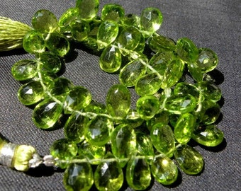 Full 8 Inches - Finest Quality Genuine Peridot Faceted Pear Shaped Briolette Rare Size 8x7 -10x7mm approx.