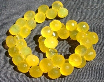 1/2 Strand - Finest Quality AAA Butterscotch Yellow Chalcedony Micro Faceted Onion Briolettes Size 8 - 9mm approx