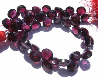 Full 8 Inches - Finest Quality Gorgeous Natural Rhodolite Garnet Faceted Heart Briolettes 6.5 - 7mm approx