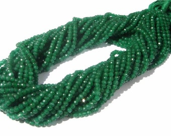 5 Strands AAA Emerald Green Quartz Micro Faceted Rondelles Size 3.5 - 4mm Gemstone Beads, Semiprecious Beads