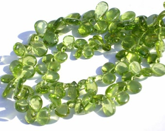 Full 8 Inches - Finest Quality Genuine Peridot Smooth Polished Pear Briolettes W/50 Pcs Size 7x4 - 10x6mm Wholesale Price