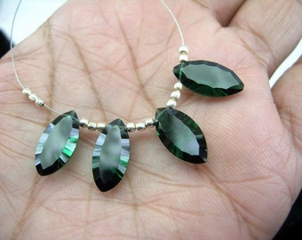 4Pcs 2 Matched Pair - AAA Chrome Green Quartz Concave Cut Marquise Briolettes Size 18x9mm approx