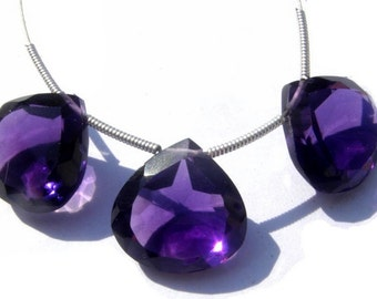 3 Piece Set - AAA Amethyst Faceted Heart Shaped Cut Stone Briolettes Size 15x15mm Matched Pair and A Focal Pendant