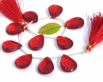 8 Inches -  Finest Quality AAA Red Quartz Faceted Pear Briolettes Size 21x16mm approx Beautiful Brios Wholesale Price