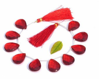 1/2 Strand -  Finest Quality AAA Red Quartz Faceted Pear Briolettes Size 21x16mm approx Beautiful Brios Wholesale Price