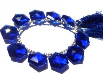 1/2 Strand AAA Cobalt Blue Quartz Faceted Fancy Polygon Shaped Briolettes Size 18x18mm