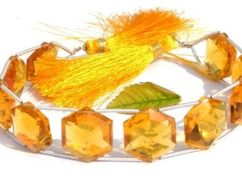 8 Inches - AAA Madeira Citrine Quartz Faceted Polygon Shaped Double Drilled Briolettes 10 Pieces 5 Matched Pair Size 18x18mm