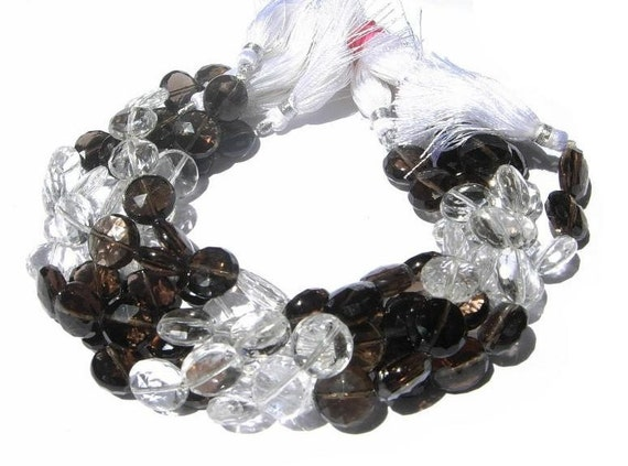 12mm Crystal and Smoky Quartz Faceted Coin Beads Full 8 Inches strand 19 Pcs