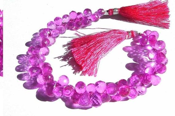Full 8 Inches Exteremly Beautiful Hot Pink Mystic Quartz Micro Faceted Tear Drop Briolettes 8x6 - 9x7mm approx