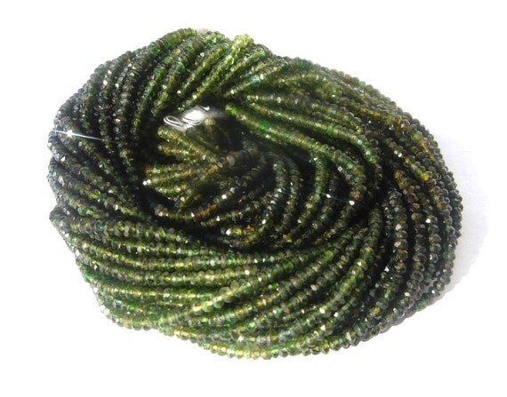 Superb AAA Chrome Green Tourmaline Shaded Micro Faceted Rondelles Size - 3mm 14 inches Long