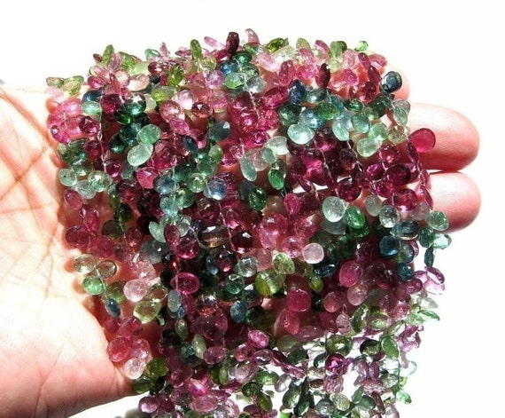 8 Inches full strand Multi Tourmaline faceted pear briolettes 65 pcs 7x5 - 8x6mm