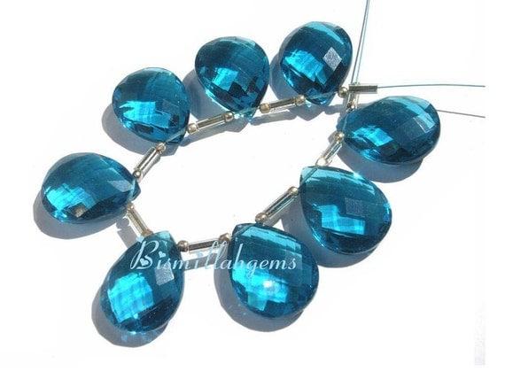 Outrageous Teal Blue Quartz Faceted Pear Shaped Briolettes 8 Pieces 4 Matched Pair 20x15mm approx
