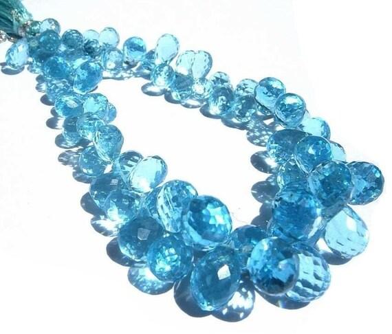 1/2 Strand Outrageous Sky Blue Quartz Micro Faceted Tear Drop Briolettes Size- 8x6 - 12x8mm approx
