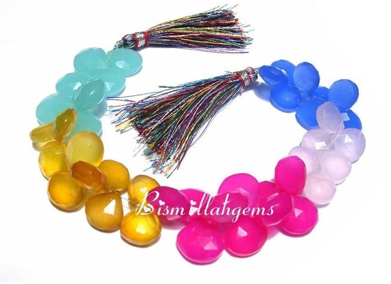 Full 8 Inches Candy Kiss Multi Rainbow Chalcedony Faceted Heart Briolettes Size 11 - 13mm approx
