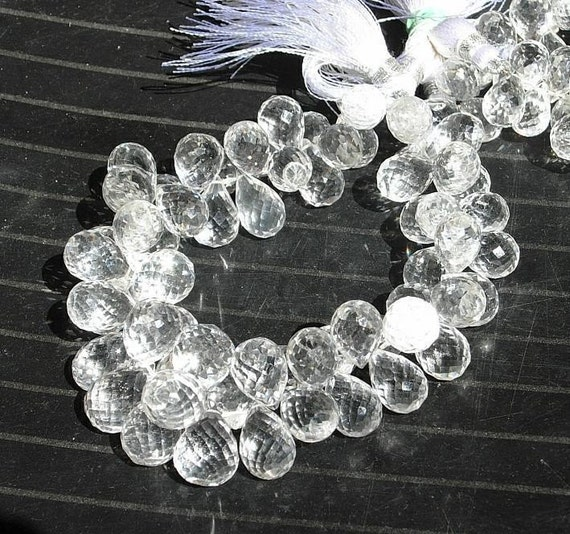 1/2 Strand - Finest Quality Natural Rock Crystal Quartz Micro Faceted Tear Drop Briolettes Large Size 12 - 11mm approx
