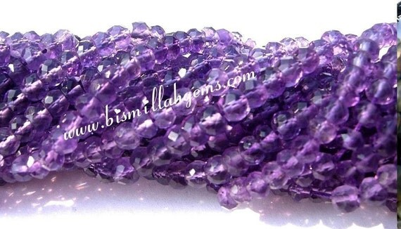 AAA Amethyst Micro Faceted Rondelles 3.5mm 14 Inches Long Strand
