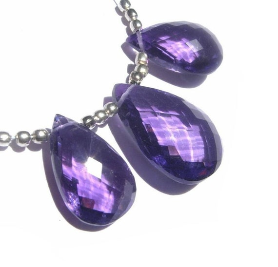 3Pc set of AAA Amethyst Faceted Pear Shaped Briolettes 16x11 - 19x14mm approx