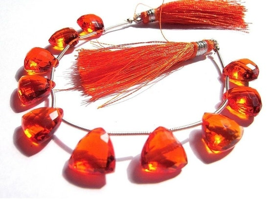 10 Pieces/5 Matched Pair of AAA Juicy Orange Quartz Faceted Trillion Briolettes 12x12mm approx
