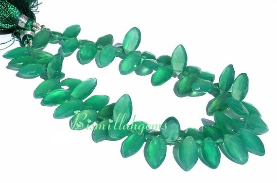 Full 8 Inches strand of Emerald Green Onyx faceted Marquise Briolettes 12x6mm - 15x7mm approx Fine Quality Great price