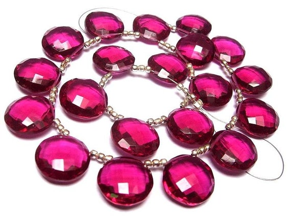 Wholesale - Super Finest AAA Rubelite Hot Pink Quartz Faceted Coin Shaped Briolettes Size 14x14mm approx, 8 Inches Strand
