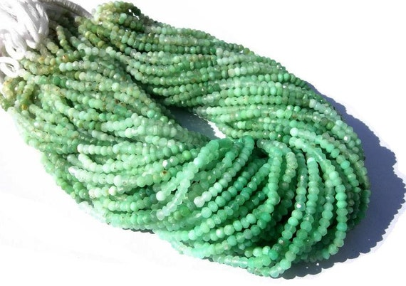 25% Off - 14 Inches Super Finest Natural Chrysoprase Micro Faceted Rondelles Size 3.5 - 4mm approx