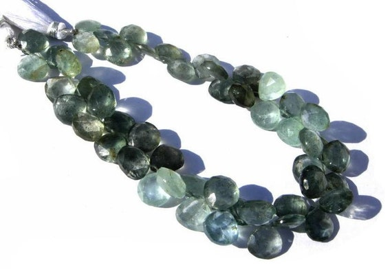 Get 25% Discount 1/2 Strand Natural Moss Aquamarine Faceted Heart Briolettes Size 10 - 8mm approx