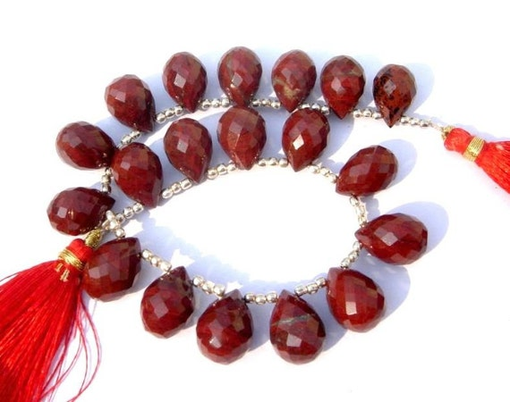AAA Red Jasper Micro Faceted Drop Briolettes Size 14x10mm Set of 18 Pcs as 9 Matched Pair, Natural Stone Fine Quality Wholesale Price