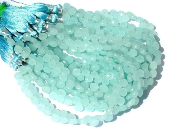 Full 8 Inches - AAA Aqua Chalcedony Faceted Heart Briolettes Rare Size 7x7mm Approx Finest Quality Wholesale Price