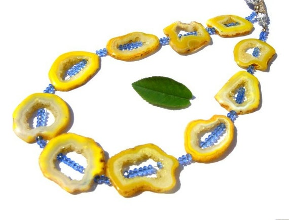 AAA Yellow Druzy Agate Polished Geode Slice beads 10 Pieces Drilled in the Long Way