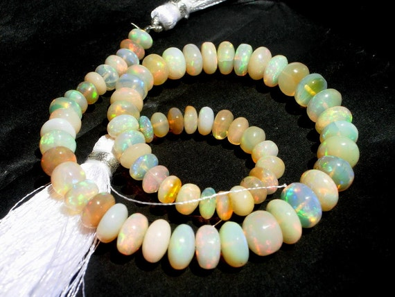 27% off Sale - 10.5 Inches Genuine Ethiopian Welo Opal Smooth Rondelles Size 5.5 - 8mm approx