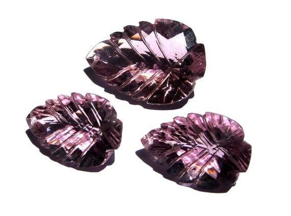 3 Piece Set - AAA Pink Quartz Faceted N Carved Fancy Briolettes Size 21x15mm - 28x19mm approx