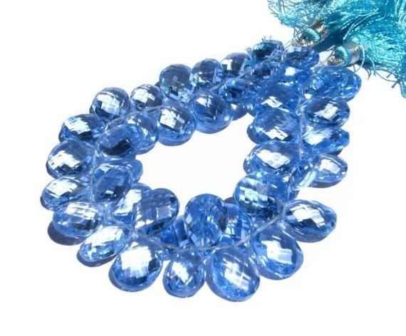 10 Pcs - Super Finest AAA Sky Blue Corundum Quartz Faceted Pear Briolettes Size 12x8 - 13x9mm approx