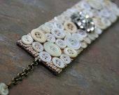 Vanilla Buttons - Handmade Vintage Cuff Bracelet