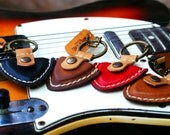 Personalized Guitar pick case leather keyring