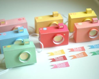 Printable  SPECIAL - - 7 Box Baby CAMERAS, pastel colours -  Printable Paper Craft PDF file (includes all 7 colours)