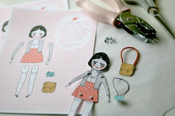 RESERVED FOR HTMF Georgie the movable paper doll - papercraft kit by Mel Stringer / Girlie Pains