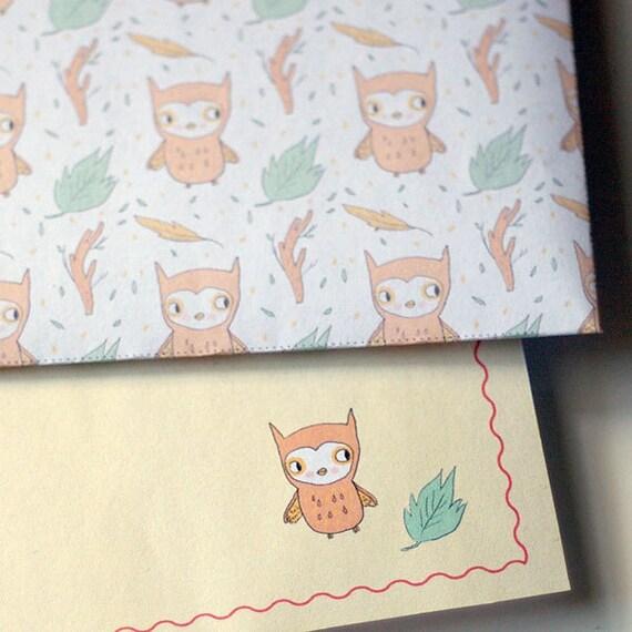 Stationery Kit - envelopes, letter paper (Printable PDF, DIY) (owls, diamonds, acorns, mushrooms)