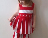 Red And White Pleated Top And Capris Size 4