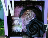 W is for Witch      Shadowbox - collage, mixed media-20 percent off- TSAE SALE