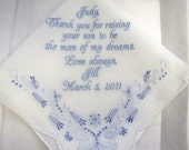 Personalized Mother of the Goom Custom Handkerchief with floral detail