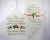 Mother and Father of the Bride Destination/Beach Wedding Handkerchiefs