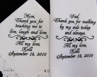 Wedding Handkerchiefs Personalized for Parents of the Bride