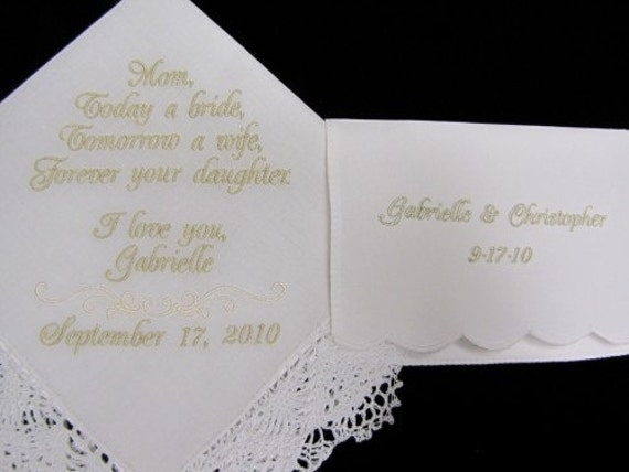 Mother of the Bride Wedding Handkerchief and Tissue Case Personalized embroidered handkerchief wedding
