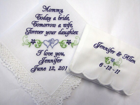 Personalized Wedding Handkerchief and Tissue Case Set for Mother of the Bride